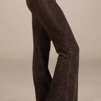 Chatoyant Mineral Wash Flare Pants in Brown