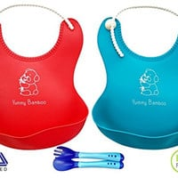 Yummy Bamboo Premium Waterproof Silicone Soft Bib with Food Catcher - Baby bibs Boys or Girls Red/Blue 2 Pack - FREE Infant Soft-Bite-Tip Toddler Baby Spoon and Fork Set - Baby Shower Gift