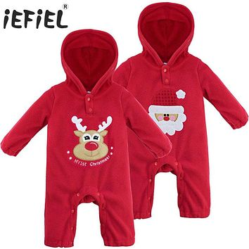 Cute Fleece Long Sleeve Coverall Hooded Christmas Santa Romper Jumpsuit One Piece Toodler Infant Baby Girl Boy Bloomers Playsuit