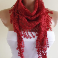 lace scarf with lace edge stylish scarf shawl gift for her christmas gift bridal