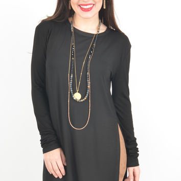 Black Piko Tunic with Side Slits