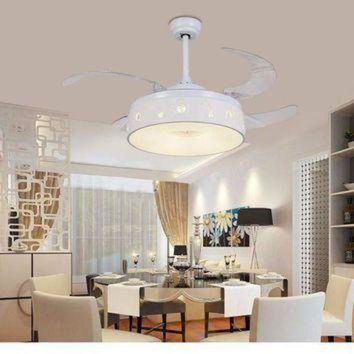 CREYUG7 Invisible ceiling chandelier fan restaurant Fan light bedroom living room frequency co