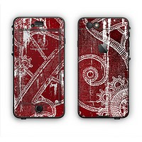 The Grungy Red & White Stitched Pattern Apple iPhone 6 Plus LifeProof Nuud Case Skin Set