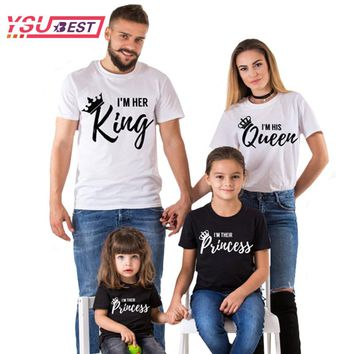 2018 Summer Matching Family Clothes Casual Solid Short Sleeve Cotton T-shirt King Queen Couples T-shirt Crown Printed Funny Tops