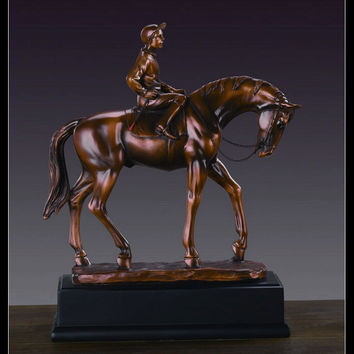 Man Riding on Horse Figurine in Brown