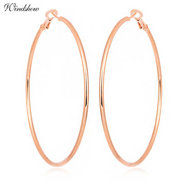 Oversize Rose Gold Color Large Big Circle Loop Hoop Earrings For Women Girl Hiphop Jewelry Aros oorbellen boucle d'oreille femme