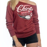 Kansas City Chiefs Off Shoulder Womens Sweatshirt | SportyThreads.com