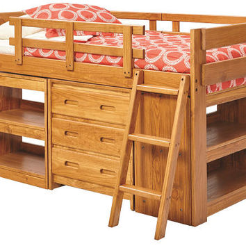 Lexington Twin Size Mid High Storage Loft Bed