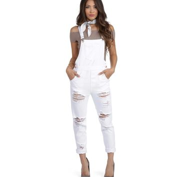 White Good Girl Distressed Overalls