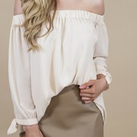 Spokane Off The Shoulder Top, Cream