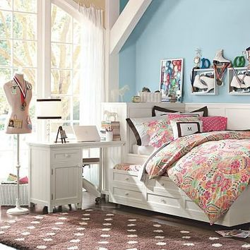 Beadboard Daybed, Trundle + Smart Space-Saving Desk Set | PBteen