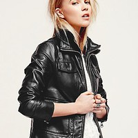 Free People Womens Aryn Vegan Motorcycle Jacket
