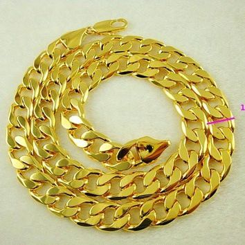 New arrival fashion Jewelry vacuum plated 24K gold 10MM x 60CM Men's necklace!Free Shipping JXL004