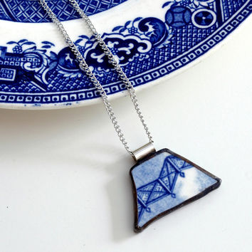 Broken Plate Pendant on Chain - Blue Willow - Recycled China