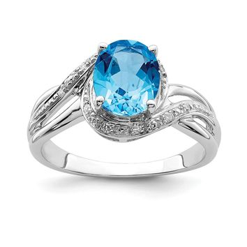 925 Sterling Silver Rhodium Plated Diamond and Light Swiss Blue Topaz Square Ring