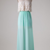 Lace Romance Maxi Dress - Mint
