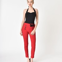 Pin-Up Style Red & Black Detailed Cigarette Pants