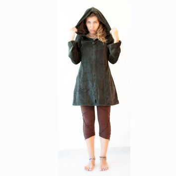 Green velvet coat - Pixie Long Jacket with Lining -  Psy Jacket - Tribal - Festival jacket - hippie clothing