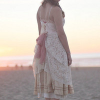 Altered white and pink lace slipdress size by BaysideBoutique
