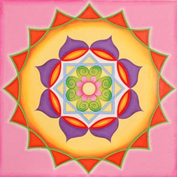 Pink Mandala - Joy Mandala - Emotions Mandala - Colorful Mandala - Spiritual Art - Courage Mandala - Home decore - Wall Decore