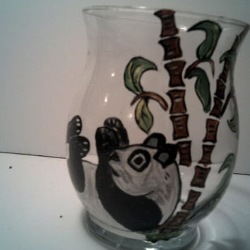 PANDA BEAR GLASS Vase Gorgeous Panda Design On Little Glass Vase Lovely Home Decor Hand Painted Panda Vase Great Gift Idea For Safari Lovers