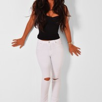 Larrabee White Stretch High Waist Ripped Skinny Jeans | Pink Boutique