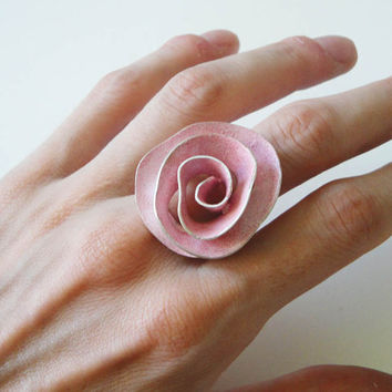 ooak big rose sterling silver handmade ring by katerinaki1977