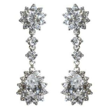 Kimmy Pear Drop Dangle Chandelier Earrings | 6ct | Cubic Zirconia | Silver