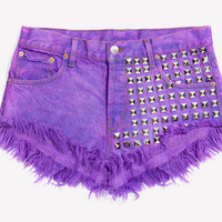 902 Purple Studded Babe Shorts