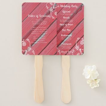 Rustic Red Barn Wood Country Wedding Hand Fan