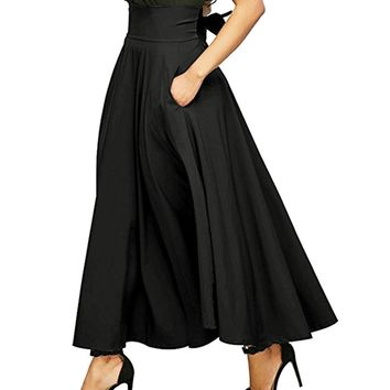 Women High Waist Pleated A Line Long Skirt Front Slit Belted Maxi Skirt