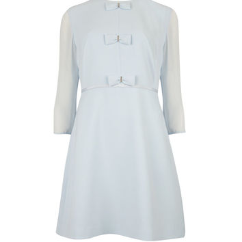 FINNA - Bow detail dress - Powder Blue | Womens | Ted Baker UK