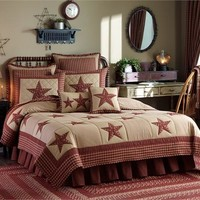 Sturbridge Patch & Star Country Quilt Set Wine and Tan by Park Designs