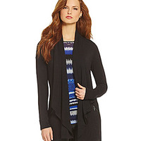 kensie French Terry Cardigan - Black