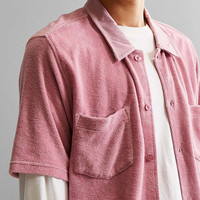 Stussy Reverse Terry Short Sleeve Button-Down Shirt | Urban Outfitters