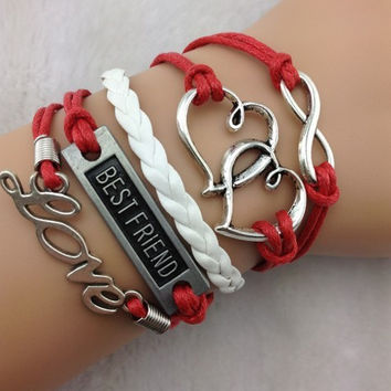 Infinity, Double Heart, Best Friend, Love Stacked Bracelet