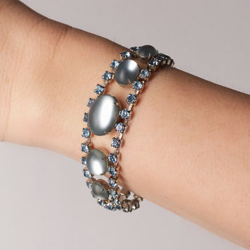 Vintage Blue Rhinestone and Frosted Stone Bracelet