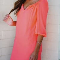 Smiles Per Hour Dress: Neon Coral | Hope's