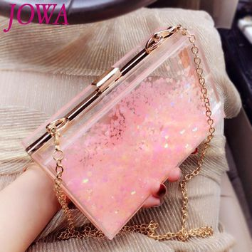 2017 New Design Fashion Mini Flap Women's Evening Bags Transparent Acrylic Hard Handbag Pink Heart Sequined Clutches Night Purse