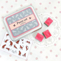 Set of 15 DIY Stamp - Pussy Cat - Rubber Stamp With Tin Case - Made In Korea