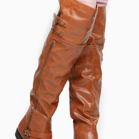 Chestnut Faux Leather Over the Knee Zipper Accent Rider Boots