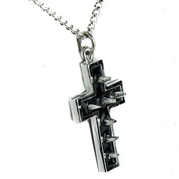 ac spbest Silver Spike Cross Necklace with Black Inlay