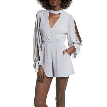 4SI3NNA - Choker Collar Cold Shoulder Romper - Silver
