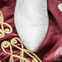 """Medieval Wedding Shoes """"The Accolade""""; medieval women's shoes; patterned leather shoes; ren shoes"""