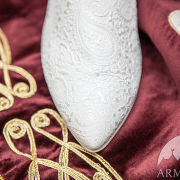 "Medieval Wedding Shoes ""The Accolade""; medieval women's shoes; patterned leather shoes; ren shoes"