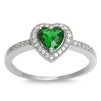 Sterling Silver Halo Green Emerald CZ Heart Engagement Ring size 4-10