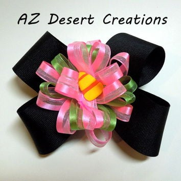 Candy Corn Boutique Halloween Bow with Pink, Green and Black Handmade
