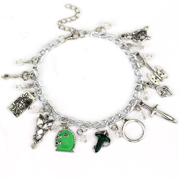 fashion jewelry Charm bracelets Frodo feet axe sword bow wizard Fairy Door bracelet For Men And Women