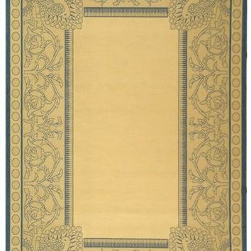 Safavieh Courtyard CY2965-3101 Eden Border Natural / Blue Rug