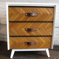 Vintage modern upcycled white and wood herringbone by spruceup